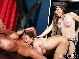 Dominant whores get intimate in brutal lesbian threesome