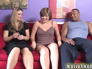 Handsome girls Haileey James with an increment of Katie Thomas fucked by a black dude