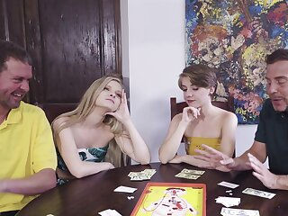 Poker subfusc foursome with sexy chicks Harlow West and Dakota Burns