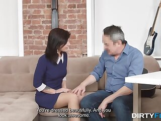 Horny old photographer takes advantage of a cute model and that crumpet loves sex